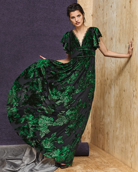 Off-the-Shoulder Gown w/ 3D Flower Lace