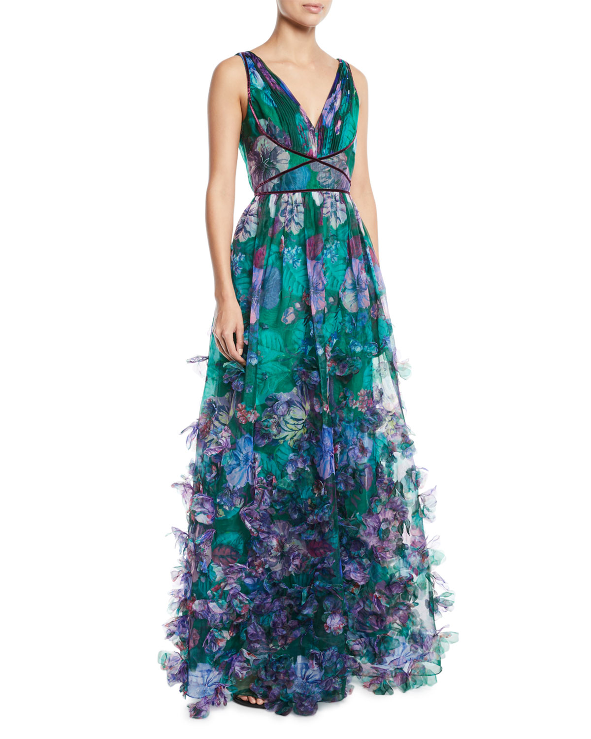 Marchesa Notte Organza Ball Gown w/ 3D Floral Embroidery   Neiman Marcus