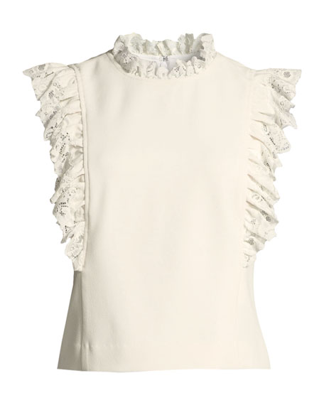 Sleeveless High-Neck Crepe Top w/ Lace Trim