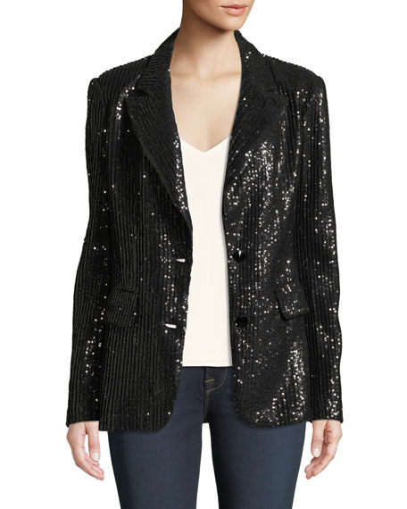 Two-Button Notch-Lapel Sequined Blazer, Plus Size