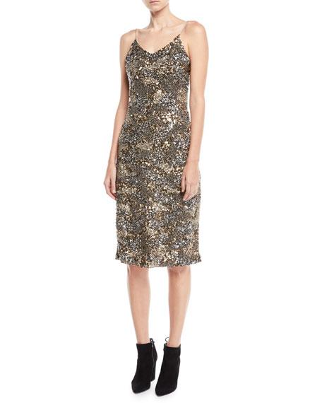 Hasana Sequin Midi-Length Slip Dress