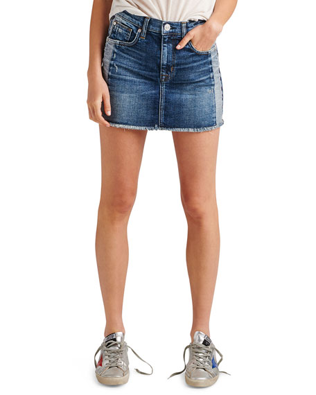 Hudson Viper Studded Raw-Edge Denim Mini Skirt