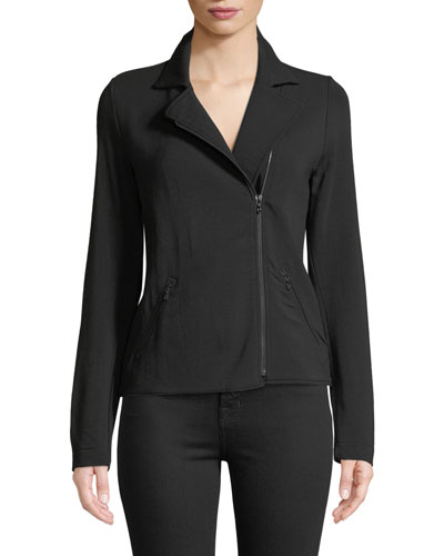 French Terry Zip-Front Moto Jacket