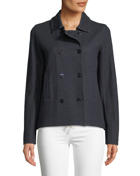 Majestic Paris for Neiman Marcus Double-Breasted Denim Jacket