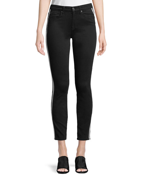 Side-Stripe Ankle Skinny Jeans