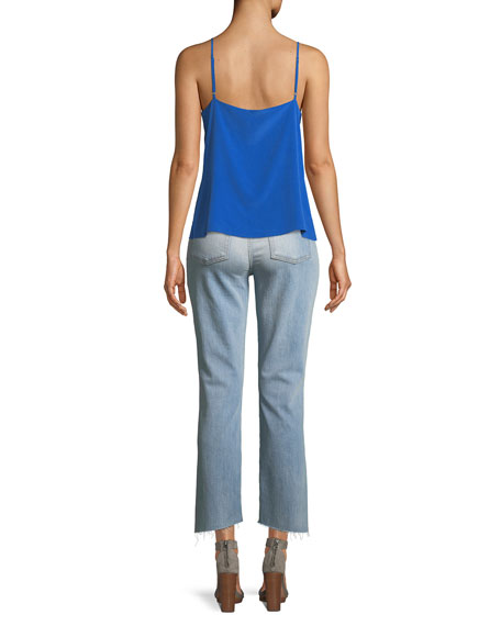 Edie Cropped Straight-Leg Jeans w/ Grommets