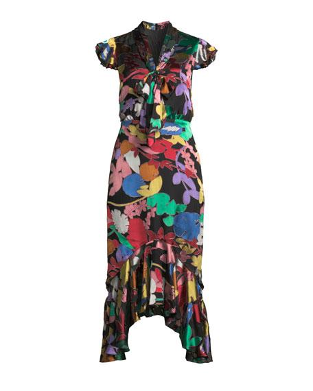 Greta Ruffle-Hem Midi Dress