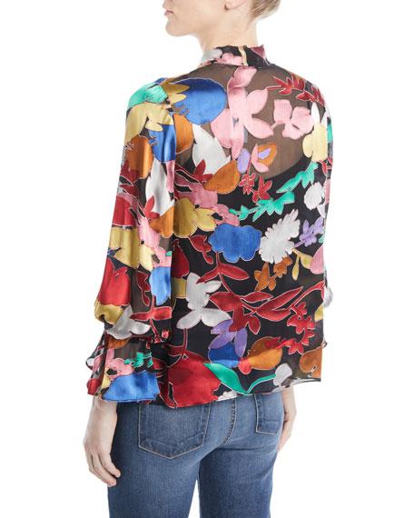 Mora Tie-Neck Floral Blouson-Sleeve Blouse