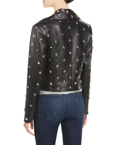Cody Crop Star-Studded Leather Moto Jacket