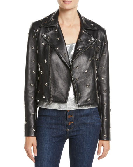 Alice + Olivia Cody Crop Star-Studded Leather Moto