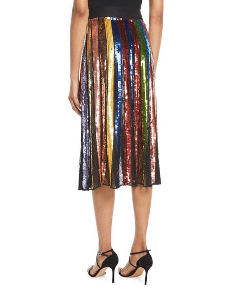 Tianna High-Waist Stripe Midi Skirt