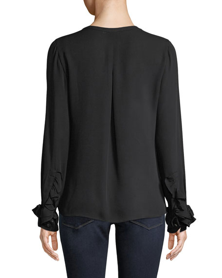 Kay Long-Sleeve Silk Ruffle-Cuff Blouse