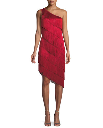 Fringe One-Shoulder Cocktail Dress