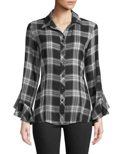 Carmella Ruffle-Sleeve Button-Front Plaid Blouse