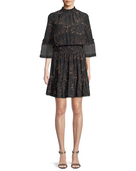 Kobi Halperin Myra Leopard-Print Silk Dress w/ Pleated