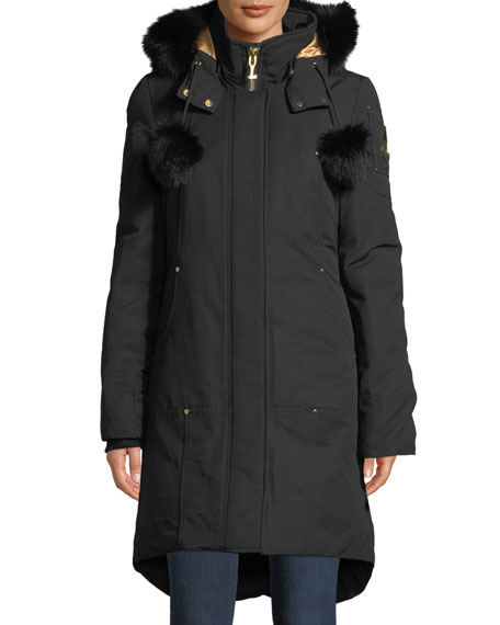 Image 1 of 4: Governor Lake Long Parka w/ Fur Trim & Pompoms