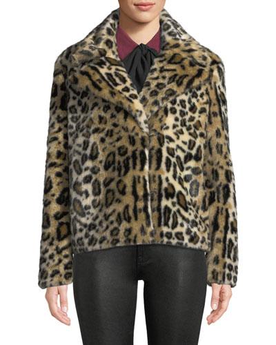 Faux-Fur Cheetah-Print Jacket