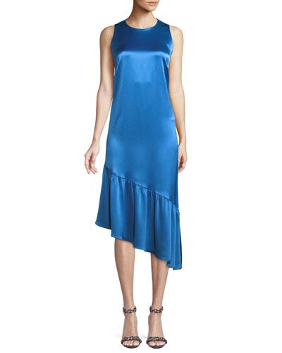 Sophia Sleeveless Satin Bias Dress w/ Asymmetric Hem