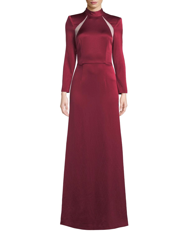 Alice + Olivia Charita Shoulder-Cutout Turtleneck Gown   Neiman Marcus