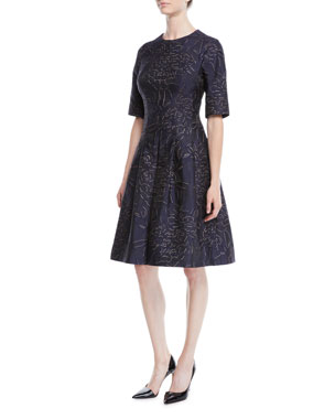 b1cba531810 Rickie Freeman for Teri Jon Elbow-Sleeve Floral-Jacquard Fit-and-Flare