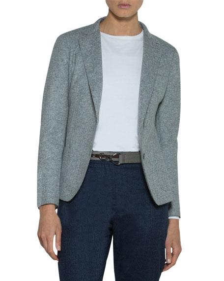 Eleventy Relaxed Stretch-Wool Blazer Jacket