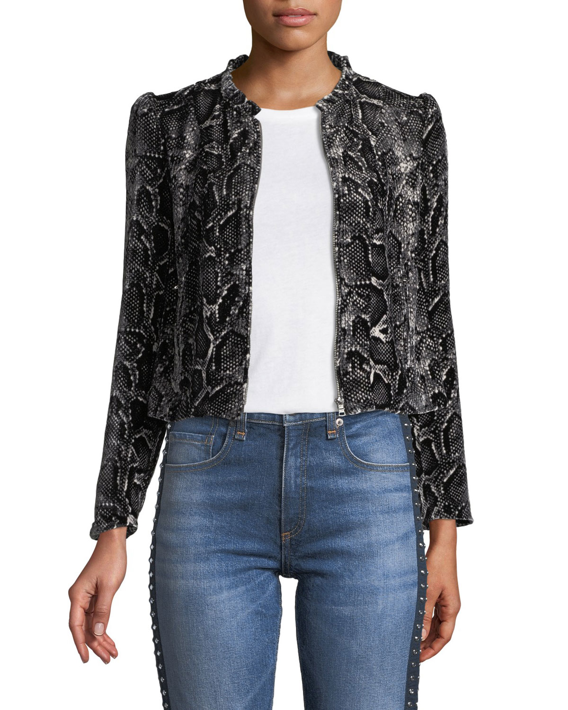 a4bf95c9df477b Rebecca Taylor Snake-Print Velvet Zip-Front Jacket
