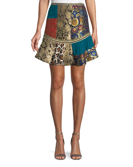 Alice + Olivia Eriko Mixed-Print Flounce Mini Skirt