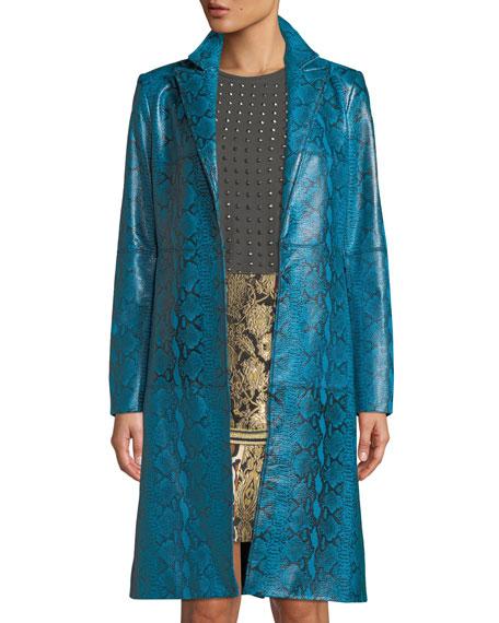 Logan Leather Oversized-Collar Coat