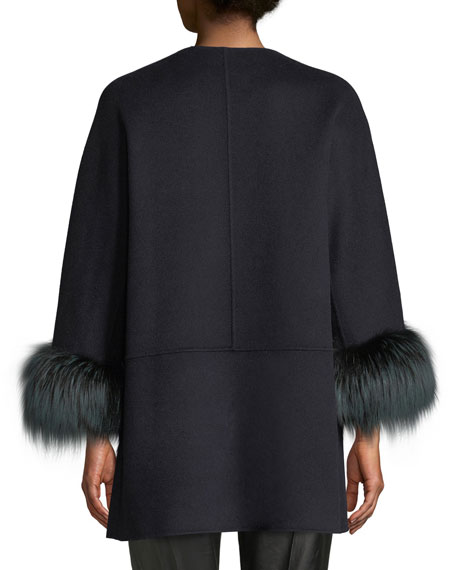 Neiman Marcus Cashmere Collection Luxury Double-Faced Cashmere Open-Front Swing Jacket with Fox Fur Cuffs