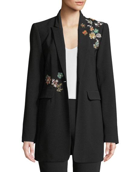 cinq a sept Venus Embellished Single-Button Jacket