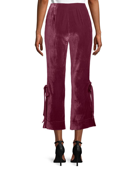 cinq a sept Lou Cropped Velvet Pants w/ Ribbons