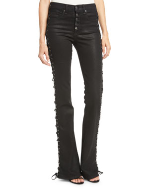 774d49cd046 Veronica Beard Beverly Lace-Up Skinny Flare-Leg Jeans