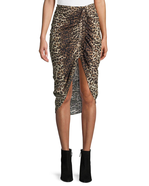 5b8b6869119a Veronica Beard Ari Ruched Leopard-Print High-Low Skirt | Neiman Marcus