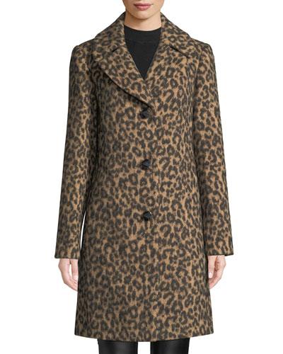 novelty wool brushed leopard coat