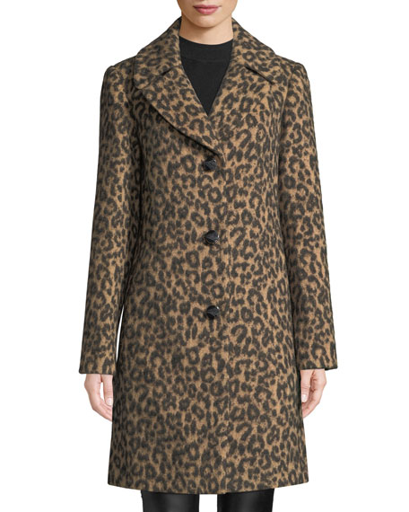 novelty wool brushed leopard coat