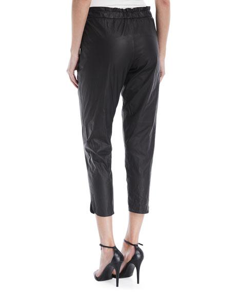 Allyn Leather Drawstring Jogger Pants