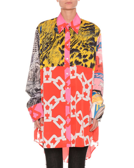 Multi-Print Long-Sleeve Button-Front Blouse