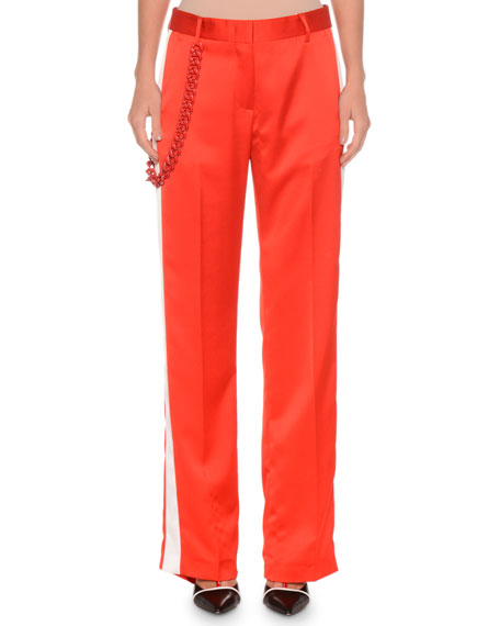 Side-Stripe Satin Pants w/ Chain Detail
