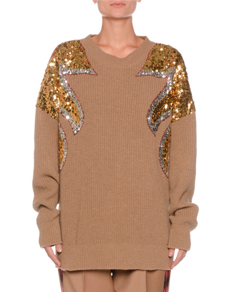 Crewneck Sequin-Detail Ribbed Wool Sweater