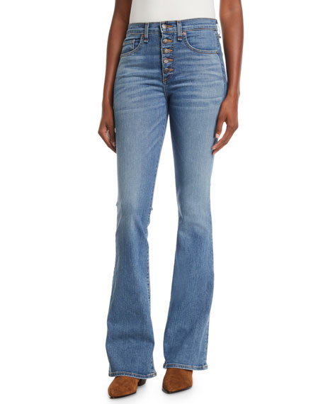 Veronica Beard Beverly Skinny Flare Jeans w/ Button Fly