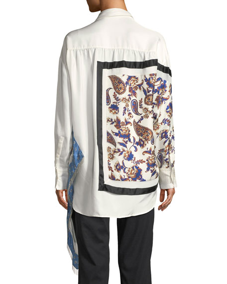 3.1 Phillip Lim Long-Sleeve Patchwork Button-Down Top with Fringe