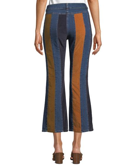 Striped High-Rise Flare-Leg Jeans