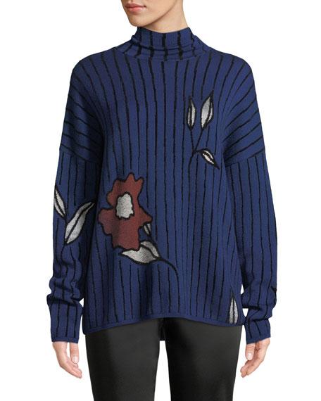 CHRISTIAN WIJNANTS Kamran Turtleneck Stripe & Floral Jacquard Sweater in Blue Pattern