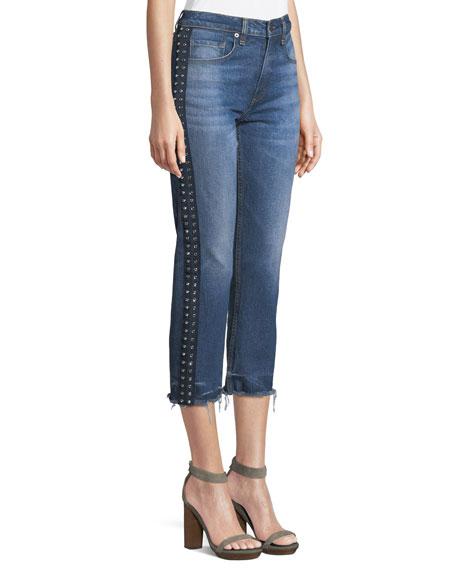 Ines Cropped Straight-Leg Girlfriend Jeans W/ Rhinestones