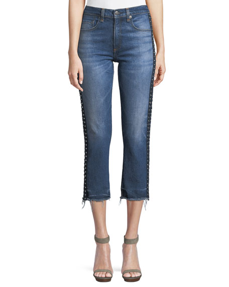 Ines Cropped Straight-Leg Girlfriend Jeans W/ Rhinestones