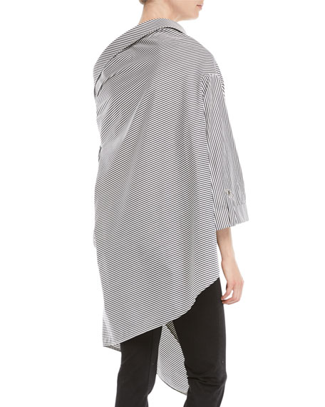 palmer//harding Jasmine Striped One-Shoulder Button-Front Shirt