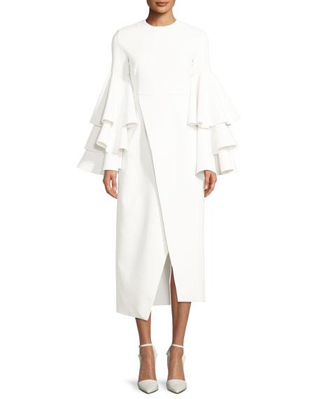 Solace London Minelli Ruffle Bell-Sleeve Midi Dress