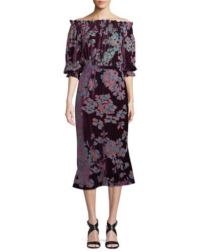 Grace Midi Floral Stripe-Print Dress