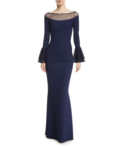 Giuly Illusion Trumpet-Sleeve Evening Gown