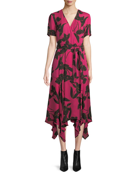 Cora Floral-Print Silk Midi Wrap Dress in Pink